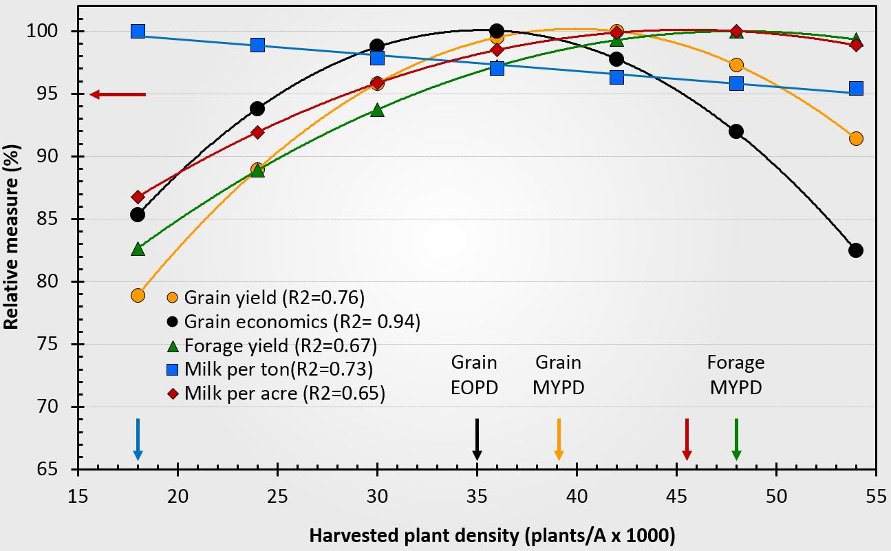 Relationship between corn plant density and grain maximum yield, grain economic optimum, forage yield, Milk/Ton, and Milk/Acre.