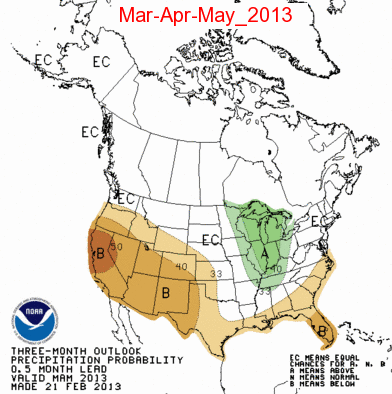 Three month precip outlook from NOAA