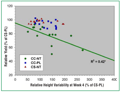 Figure 5. This graph shows the relationship between the relative grain yield and plant height variability four weeks after planting for continuous corn, no-till (CC-NT); continuous corn, plow (CC-PL); and corn-soybean, no-till (CS-NT) systems. Each system is shown as a percentage of corn-soybean, plow values. Each data point represents a particular rotation-tillage treatment in a single year. The relationship between relative grain yield and relative height variability at week four was statistically significant only for the continuous corn, no-till system at P = 0.05. In statistics, R 2 values indicate the strength of a relationship between two variables. Values for R 2 range from 0 to 1, with values near 0 showing no relationship and values near 1 showing a very strong relationship between two variables.