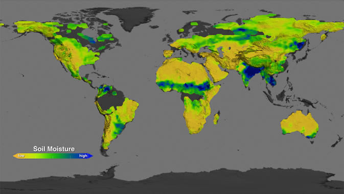 This image shows what the soil moisture conditions around the planet were like in August 2013: dry areas are represented in the brown scale, while wetter areas are in blue and green.